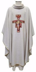 Picture of Liturgical Chasuble Embroidered St. Damian Cross in Hemp and Linen blend Ecru Ivory Chorus
