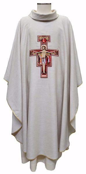Immagine di Casula Liturgica Ricamo Croce S. Damiano Canapa e Lino Avorio Ecru Chorus