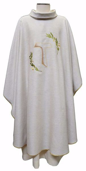 Picture of Liturgical Chasuble Embroidered Tau Cross Olive Branches in Hemp and Linen blend Ecru Ivory Chorus