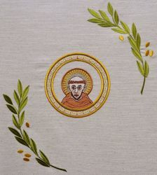 Picture of Liturgical Chasuble Embroidered St. Francis Olive Branches in Hemp and Linen blend Ecru Ivory Chorus