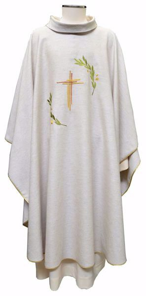 Picture of Liturgical Chasuble Embroidered Cross Olive Branches in Hemp and Linen blend Ecru Ivory Chorus
