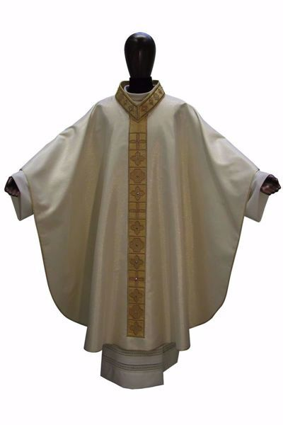 Picture of Gothic Chasuble Banded Collar with Embroidery Golden Orphrey and Neck in Wool and Silk blend Ivory Chorus