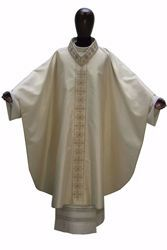 Picture of Gothic Chasuble Banded Collar direct Embroidery Spotlight Stones in Gold Wool and Silk blend Ivory Chorus