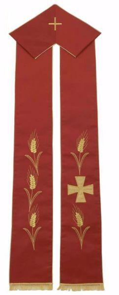 Immagine di Stola Liturgica Sacerdotale Diaconale Ricamo Spighe Oro e Croce Greca Poliestere Avorio Rosso Verde Viola Chorus