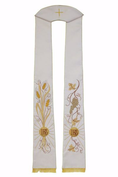 Picture of Priest Deacon Liturgical Stole with embroidered Wheat Grapes IHS in pure Polyester Ivory Red Green Purple Chorus