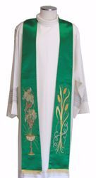 Picture of Priest Deacon Liturgical Stole with embroidered Chalice Wheat Grapes in pure Polyester Ivory Red Green Purple Chorus