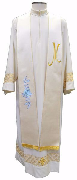 Imagen de Estola Diaconal Sacerdotal Mariana con bordado Rosas y símbolo M en Poliéster puro Marfil Chorus