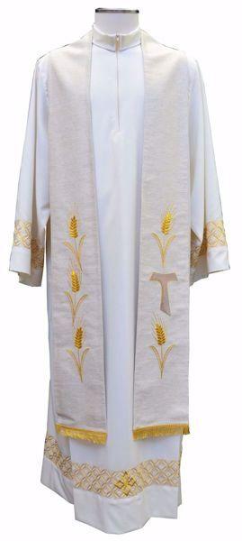 Immagine di Stola Liturgica Sacerdotale Diaconale Ricamo Croce Tau e Spighe Poliestere Avorio Rosso Verde Viola Chorus