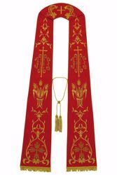 Picture of Priest Roman Stole with IHS Grapes Eucaristic Wheat in Moiré Silk Ivory Red Green Purple Chorus