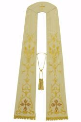 Picture of Priest Roman Stole with Trilobed Cross Eucaristic Wheat in Moiré Silk Ivory Red Green Purple Chorus
