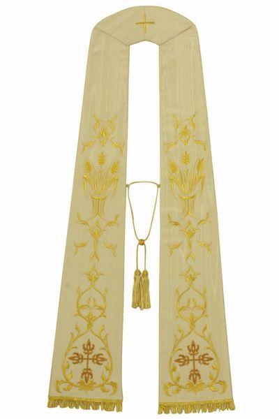 Immagine di Stola Liturgica Sacerdotale Romana Croce Trilobata e Spighe Eucarestia Seta Moiré marezzata Avorio Rosso Verde Viola Chorus