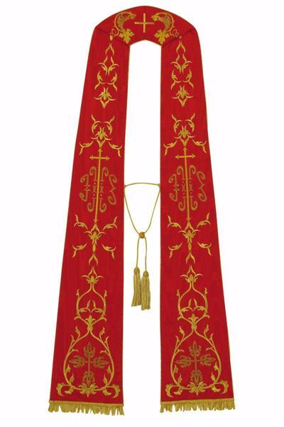 Picture of Priest Roman Stole with IHS Grapes Trilobed Cross in Moiré Silk Ivory Red Green Purple Chorus