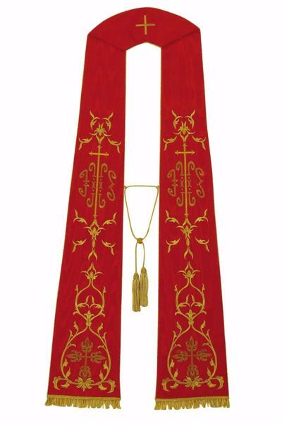Picture of Priest Roman Stole with IHS Trilobed Cross in Moiré Silk Ivory Red Green Purple Chorus