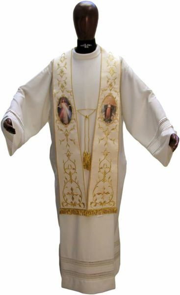Picture of CUSTOMIZABLE Priest Roman Stole with Golden and Image upon request in Moiré Silk Ivory Red Green Purple Chorus