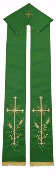 Imagen de Estola Litúrgica Diaconal Sacerdotal con Bordado Cruz Espigas de Trigo en Satén de seda Marfil Rojo Verde Morado Chorus