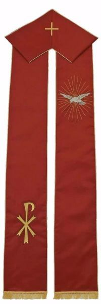 Picture of Priest Deacon Liturgical Stole with embroidered Pax in Satin Silk Ivory Red Green Purple Chorus