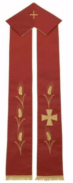 Picture of Priest Deacon Liturgical Stole with embroidered Gold Wheat Greek Cross in Satin Silk Ivory Red Green Purple Chorus