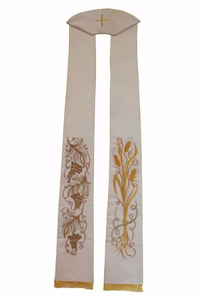 Picture of Priest Deacon Liturgical Stole with embroidered Wheat Grapes in Satin Silk Ivory Red Green Purple Chorus