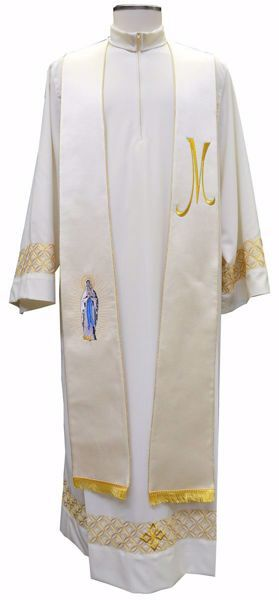 Picture of Priest Deacon Marian Stole with embroidered Madonna M Symbol in Satin Silk Ivory Chorus
