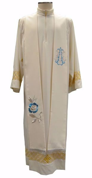 Picture of Priest Deacon Marian Stole with embroidered Rose M Symbol in Satin Silk Ivory Chorus