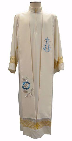 Imagen de Estola Diaconal Sacerdotal Mariana con bordado Rosa y símbolo M en Satén de seda Marfil Chorus