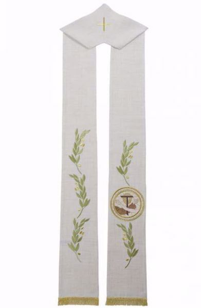 Picture of Priest Deacon Liturgical Stole with Embroidered Olive Branches & Franciscan emblem in Hemp and Linen blend Ecru Ivory Chorus
