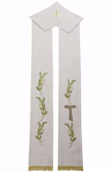 Picture of Priest Deacon Liturgical Stole with embroidered Olive Branches & Tau Cross in Hemp and Linen blend Ecru Ivory Chorus