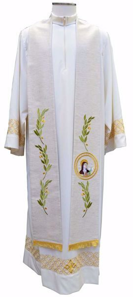 Picture of Priest Deacon Liturgical Stole with embroidered Olive Branches & Saint Clare in Hemp and Linen blend Ecru Ivory Chorus