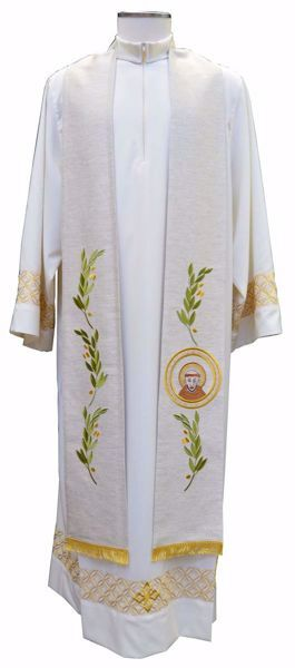 Picture of Priest Deacon Liturgical Stole with embroidered Olive Branches & St. Francis in Hemp and Linen blend Ecru Ivory Chorus