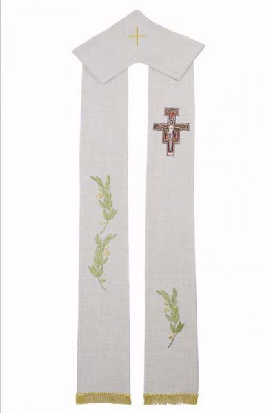Picture of Priest Deacon Liturgical Stole with embroidered Olive Branches & St. Damian Cross in Hemp and Linen blend Ecru Ivory Chorus