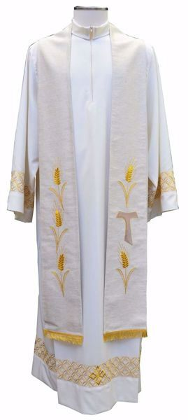 Picture of Priest Deacon Liturgical Stole with embroidered Tau Cross Wheat in Hemp and Linen blend Ecru Ivory Chorus
