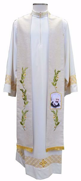 Picture of CUSTOMIZABLE Priest Deacon Liturgical Stole with Olive Branches & Image upon request in Hemp and Linen blend Ecru Ivory Chorus