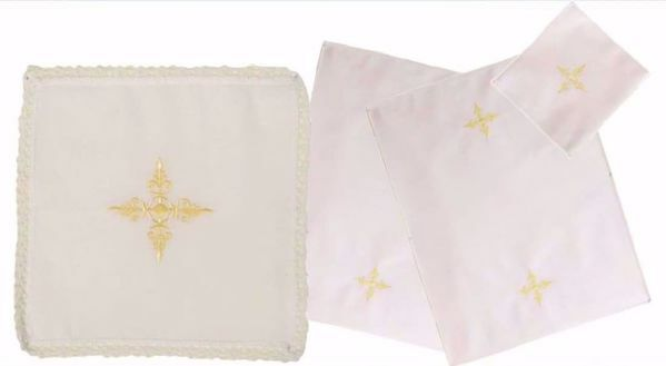 Picture of Sacramental Altar Linens 4 pieces Set Embroidered Cross in Linen blend White Chorus Mass Altar Cloths