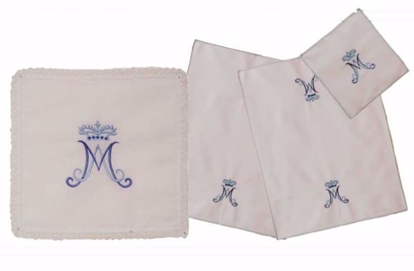 Picture of Sacramental Altar Linens 4 pieces Set Marian Embroidery in Linen blend White Chorus Mass Altar Cloths