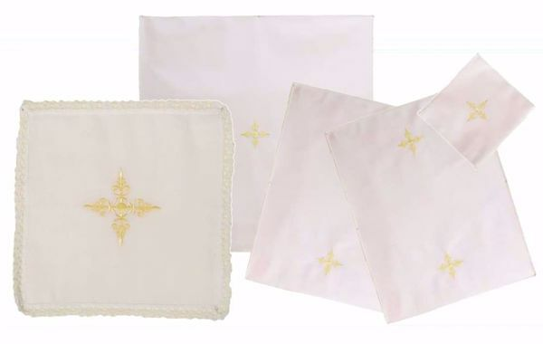 Picture of Sacramental Altar Linens 5 pieces Set Embroidered Cross in pure Cotton White Chorus Mass Altar Cloths