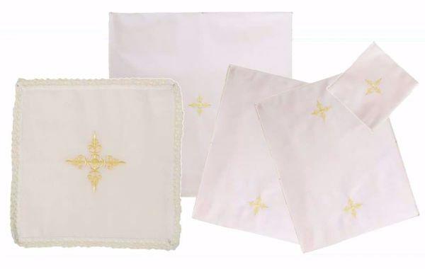 Immagine di Servizio Messa Set Completo 5 pezzi Ricamo Croce puro Cotone Bianco Chorus Biancheria da Altare