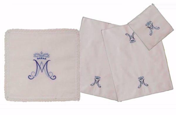 Imagen de Servicio Paños de Altar Set 4 piezas Bordado Mariano en puro algodón Blanco Chorus Conjunto para Misa