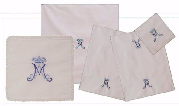 Picture of Sacramental Altar Linens 5 pieces Set Marian Embroidery in pure Cotton White Chorus Mass Altar Cloths