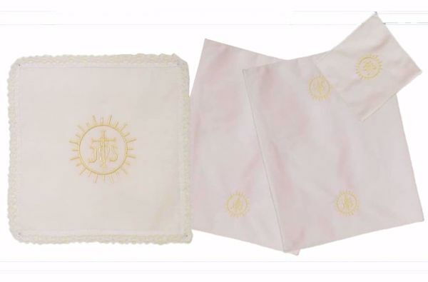 Picture of Sacramental Altar Linens 4 pieces Set Embroidered IHS Host in pure Cotton White Chorus Mass Altar Cloths