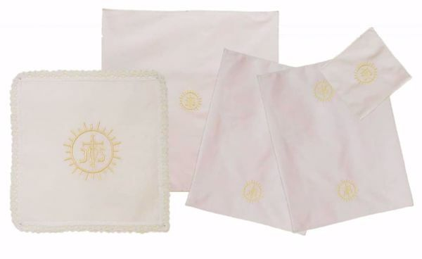 Picture of Sacramental Altar Linens 5 pieces Set Embroidered IHS Host in pure Cotton White Chorus Mass Altar Cloths