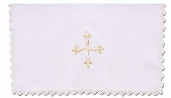 Picture of Sacramental Altar Linens with Lace 4 pieces Set Embroidered Cross in pure Linen White Chorus Mass Altar Cloths