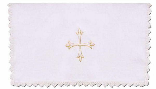 Immagine di Servizio Messa con Merletto Set Completo 4 pezzi Ricamo Croce puro Lino Bianco Chorus Biancheria da Altare