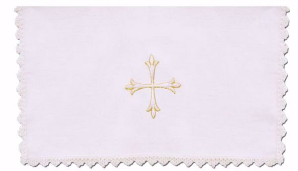 Picture of Sacramental Altar Linens with Lace 5 pieces Set Embroidered Cross in pure Linen White Chorus Mass Altar Cloths