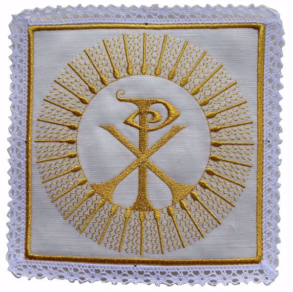 Picture of Liturgical Square Pall with Lace Embroidered Pax in Satin Silk Ivory Red Green Purple Chorus Altar Linen Chalice Cover