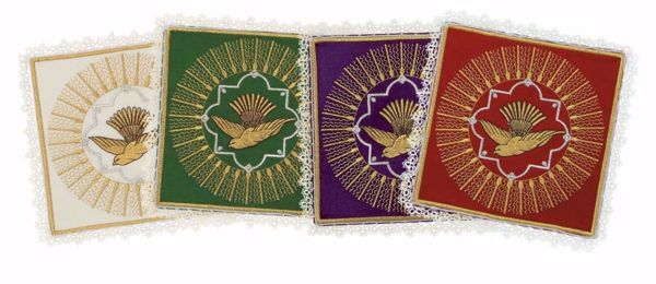 Imagen de Palia litúrgica cuadrada con Encaje y bordado Espíritu Santo en Satén de seda Marfil Rojo Verde Morado Chorus Hijuela cubre Cáliz de Altar