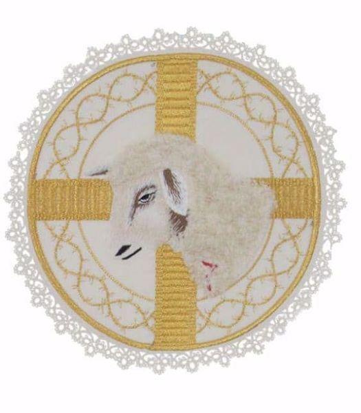Immagine di Palla liturgica tonda con Merletto Ricamo Agnello in Raso di seta Avorio Rosso Verde Viola Chorus Animetta Copricalice da Altare