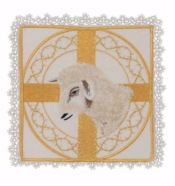 Immagine di Palla liturgica quadrata con Merletto Ricamo Agnello in Raso di seta Avorio Rosso Verde Viola Chorus Animetta Copricalice da Altare