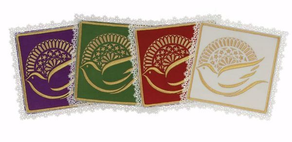 Picture of Liturgical Square Pall with Lace in Satin Silk Ivory Red Green Purple Chorus Altar Linen Chalice Cover