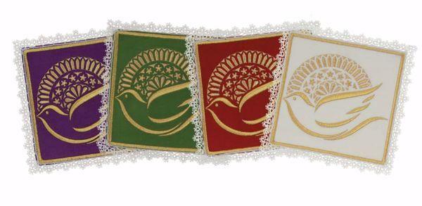 Imagen de Palia litúrgica cuadrada con Encaje en Satén de seda Marfil Rojo Verde Morado Chorus Hijuela cubre Cáliz de Altar