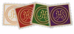Picture of Liturgical Square Pall with Lace Embroidered IHS in Satin Silk Ivory Red Green Purple Chorus Altar Linen Chalice Cover